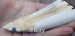 Gareth Mcghie Wearable Art Work Nz Stag Antler Engraved Paua Maori Rei Puta