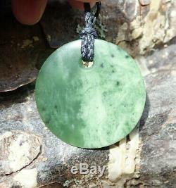 Gem Grade Dallas Crombie Nz Kawakawa Pounamu Greenstone Jade Maori Disc Pendant