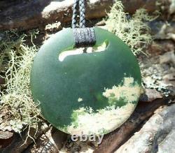 Gem Grade Dallas Crombie Nz Pounamu Greenstone Picture Jade Maori Kopae Pendant