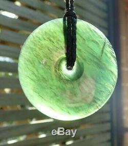 Gem Grade Nathan Jerry Nz Tangiwai Pounamu Greenstone Maori Kopae Disk Necklace