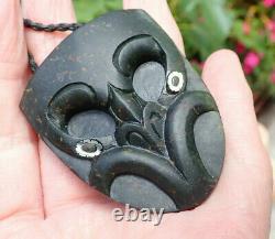 Hand Carved Arapo Whata Nz Greenstone Pounamu Serpentine Maori Wheku Mask