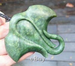 Hand Carved Charlie Marsh Nz Greenstone Maori Pounamu Nephrite Jade Stingray