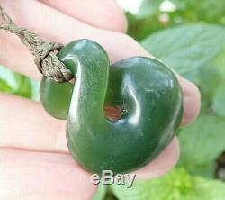 Hand Carved J Kerwin Nz Greenstone Maori Kahurangi Pounamu Jade Eternity Twist