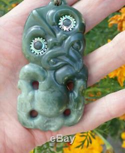 Hand Carved John Kerwin Nz Greenstone Arahura Pounamu Flower Jade Maori Hei Tiki