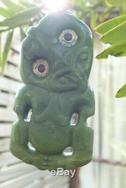 Hand Carved John Kerwin Nz Greenstone Raukaraka Pounamu Jade Maori Hei Tiki