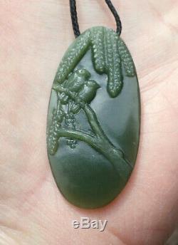 Hand Carved Maori Greenstone Pounamu Inanga Jade Birds Kowhai Tree Pendant