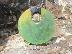 Hand Carved New Zealand Greenstone Pounamu Nephrite Flower Jade Kopae Necklace