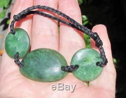 Hand Carved New Zealand Greenstone Pounamu Nephrite Marsden Jade Disc Bracelet