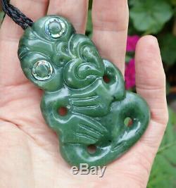 Hand Carved New Zealand Greenstone Pounamu Nephrite Marsden Jade Maori Hei Tiki