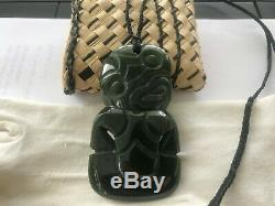 Hei Tiki Pendant Pounamu Greenstone Tiki. New (As New) Condition as Never Worn