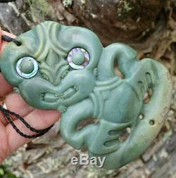 Huge Collectible Nz Blue Inanga Pounamu Greenstone Nephrite Jade Maori Hei Tiki