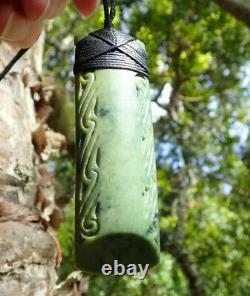 J Tainui Nz Greenstone Pounamu Nephrite Flower Jade Engraved Bound Hei Toki Adze