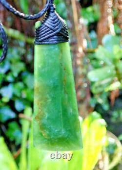 J Tainui Nz Greenstone Pounamu Nephrite Jade Engraved Bound Maori Hei Toki