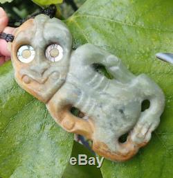 John Kerwin Artefact Style Nz Greenstone Pounamu Rare Inanga Jade Maori Hei Tiki