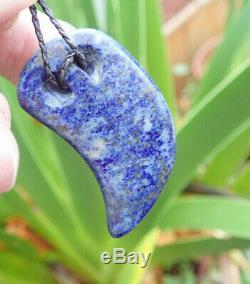 John Kerwin Hand Carved Badakhshan Cobalt Lapis Lazuli Maori Rei Niho Necklace