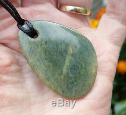 John Kerwin Rare Nz Greenstone Maori Pounamu Nephrite Flower Jade Pebble Pendant