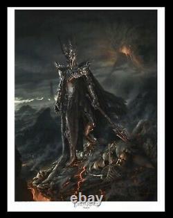 LOTR Sideshow Collectibles Weta Sauron Fine Art Paper Giclee LE 55/800 17x20