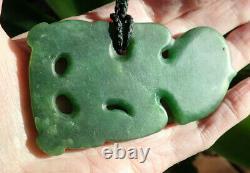 Large Arapo Whata Nz Greenstone Pounamu Nephrite Jade Red Eyed Maori Hei Tiki