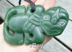 Large Niki Nepia Ltd Nz Greenstone Pounamu Nephrite Jade Maori Hei Tiki