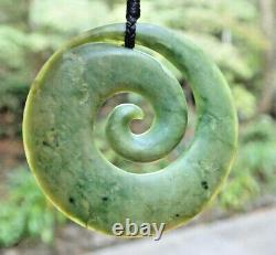 Large One Of Kind Nz Pounamu Greenstone Nephrite Flower Jade Maori Spiral Koru