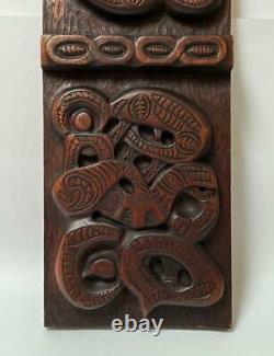 Large Vintage Handcarved Maori Tiki Wooden Panel Wall Hanging New Zealand Tribal
