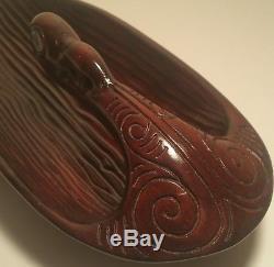 MAORI canoe bailer vtg tribal tattoo tiki wood carving new zealand water bowl