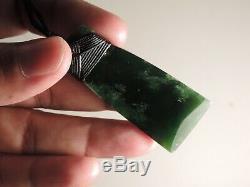 MARSDEN F JADE ADZE NZ Greenstone Nephrite Maori Pounamu Superb DARK GREEN TOKI