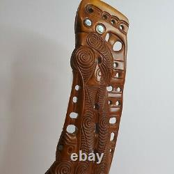 Maori Carving Taurapa Hand Carved Aotearoa New Zealand Kauri Wood