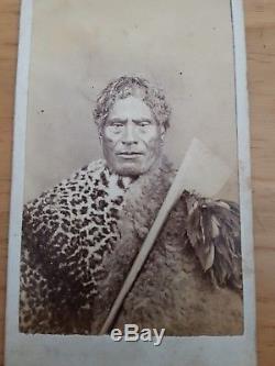 Maori Chief Rare 1860s antique album photo NEW ZEALAND photo ORIGINAL