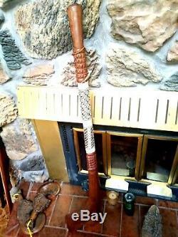 Maori Gugu War Club Battle Axe, New Zealand Vintage Handcrafted Weapon, 43 Long