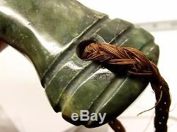 Maori Hand Carved Greenstone Patu Club Rope Handle 12.5 New Zealand Estate Jade