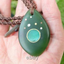 Maori New Year Nz Pounamu Greenstone Jade Aotea Stone 18k Gold Silver Pendant