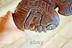 Maori Patu Wahaika Kotiate Tribal War Club Carved Wood Tiki New Zealand Heavy