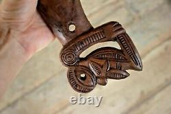 Maori Patu Wahaika War Club Rich Carved Wood Tiki God New Zealand No reserve