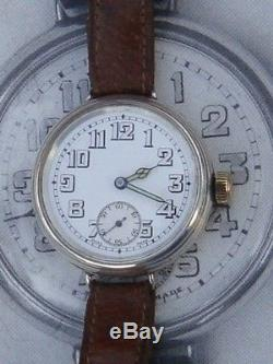 Military Trench watch WW1 era inscribed to a New Zealand Solider VGC silver 15 j