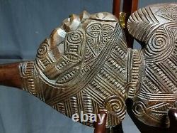 NEAR MINT Maori New Zealand Hand Carved Wahaika Club Paua Inlays Kotiate Vintage