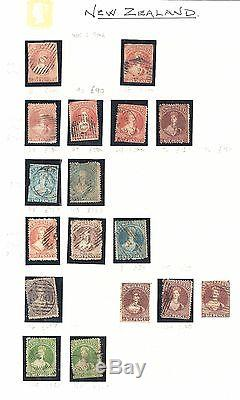 NEW ZEALAND 1857-1873 Collection on leaves used 99865