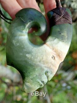 N Jerry Nz Pounamu Greenstone Picture Jade Maori Carved Face Hei Matau Hook