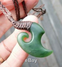 Nathan Jerry Nz Pounamu Greenstone Gem Kawakawa Jade Maori Hei Matau Fish Hook