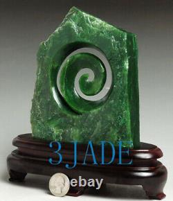 Natural Green Nephrite Jade Pounamu Koru Sculpture NewZealand Maori StyleCarving