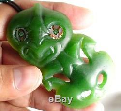 Nephrite Maori Greenstone Pounamu Des HETHERINGTON GEM BRIGHT Medium Hei Tiki