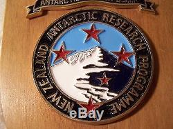 New Zealand Antarctic Research Programme NZARP DSIR Scott Base Wood Plaque Rare