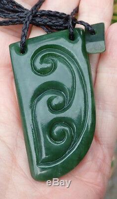 New Zealand Greenstone Pounamu Nephrite Jade Maori Koru Carved Tooth