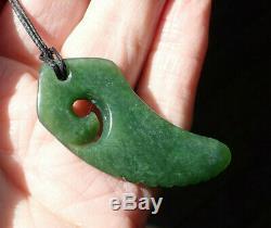 New Zealand Greenstone Pounamu Nephrite Kahurangi Jade Maori Koru Fern Necklace