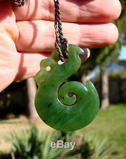 New Zealand Maori Gem Quality Canadian Jade HEI MATAU HOOK withKoru Pendant