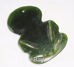 New Zealand Maori Green Arahura Jade Hei Tiki Carved Pendant (Den)