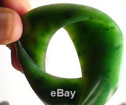 New Zealand Maori Jade Pounamu SUPERB Greenstone Nephrite'BIG MOEBIUS RIBBON'