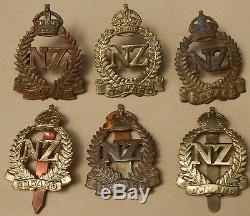 New Zealand WW2 Overseas CAP BADGE Collection of 6 SIX Variants GENUINE 2nd NZEF