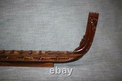 Nice Vintage Maori Carved Waka War Ship Canoe Inlaid New Zealand