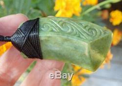 Nz Greenstone Pounamu Nephrite Flower Jade Engraved Bound Curved Maori Hei Toki